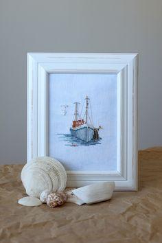 Cross Stitch Sea, Cross Stitch Patterns, Thread Art, Needle And Thread, Wool Embroidery, Embroidery Stitches, Cross Stitch Finishing, Knitting Stitches, Fishing Boats