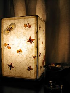 Paper lampshade with dried flowers.