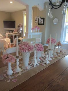 Cute table decor in white, pink, & burlap