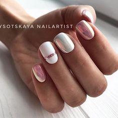 91 simple short acrylic summer nails designs for White Nail Art Ideas Nail Design Gold, White Nail Designs, Nail Art Designs, Nail Art Stripes, Striped Nails, Stylish Nails, Trendy Nails, Hair And Nails, My Nails