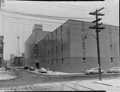 Opening day for the LOOK building, 111 10th Street, Des Moines, December 1958 Opening Day, Iowa, Utility Pole, December, Street, Building, Openness, Buildings, Walkway
