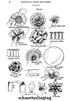 Linda Schulte uploaded this image to 'Practical Home Millinery - See the album on Photobucket. Silk Ribbon Embroidery, Embroidery Patterns, Sewing Patterns, Ribbon Art, Ribbon Crafts, Ribbon Flower, Sewing Hacks, Sewing Crafts, Sewing Projects