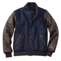 Navy And Brown varsity Jacket at the best selling price and #FreeShippingInUS . SHOP NOW!!