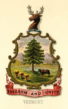 Vermont state coat of arms (illustrated, 1876)