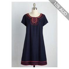 Boho Mid-length Short Sleeves Shift Zest for Time Dress