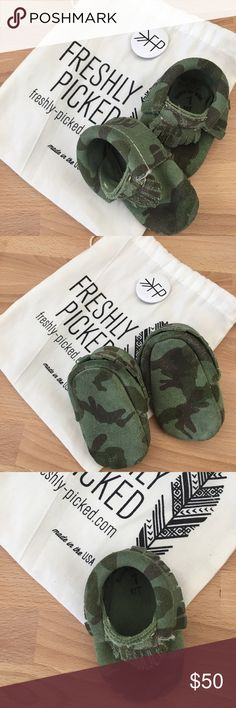 Freshly Picked Camo Moccasins Leather and suede baby moccasins. Camo. Only worn a few times. Comes with FP bag. Freshly Picked Shoes Baby & Walker
