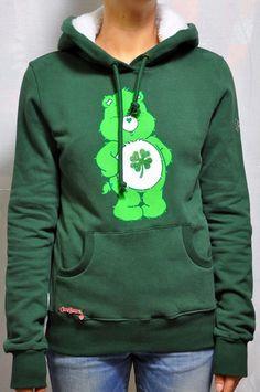 Felpa Fix Design in verde linea Care Bears, con tasca frontale, interno cappuccio in bianco, spilla