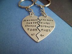 Long Distance Relationship Quote - Couples Key Chain - Hand Stamped on Etsy, $27.00