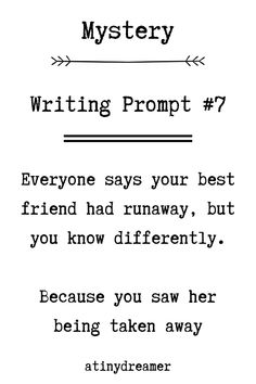 Prompts are the perfect way to get some inspiration for your writing, take a look at these mystery prompts and get writing! Writing Prompts For Writers, Journal Writing Prompts, Dialogue Prompts, Creative Writing Prompts, Book Writing Tips, Writing Words, Writing Ideas, Writing Skills, Writing Inspiration Prompts