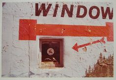 William Eggleston, Untitled (Window with Red Arrow and Partial Painted Landscape) 1972
