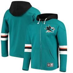 311776883 Men s San Jose Sharks Fanatics Branded Teal Breakaway Full-Zip Hoodie