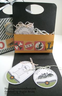 Inside look at tag holder!  Quick and easy...click for measurements!  Created by Angie Britt, Stampin' Up! Demonstrator, Happily Ever Crafter