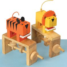 A set of two animal shaped cam demonstration toys, ideal for children to use during a product evaluation before beginning their own design and make task.