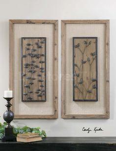Burlap Wall Art | chinook burnished wood with burlap matting wall art sku uttermost ...