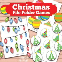 FREE cute and fun Christmas File Folder Games for practicing a variety of skills!