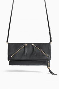 Black Leather Clutch with Zippers | Stella & Dot