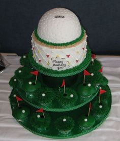 This was for an avid golfer's 50th birthday. Cake iced...