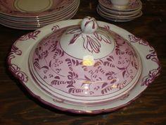 Antique Sunderland Pink Lusterware Covered Vegetable Bowl