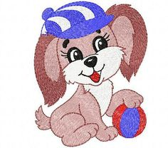 Dog embroidery design. Puppy embroidery