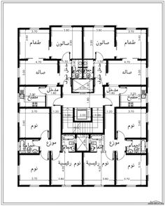خرائط وحدة 5 شقق منفصلة 2 غرفة نوم لكل شقة من مشروع منزلك بالمدينة Modern House Floor Plans, Home Design Floor Plans, Duplex House Plans, Apartment Floor Plans, Residential Building Plan, Building Design Plan, Plan Design, Building Plans, Free House Plans