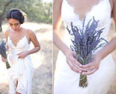 Lavender sprigs in the bouquets? Would this simple bouquet look dumb with purple bridesmaid dresses? We'd have to get the colors just right.