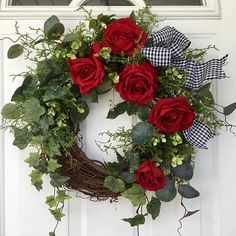 Valentines Day Wreath-Spring Wreath-Wreath-Ivy Wreath-Red Rose Wreath-Front Door Wreath-Wedding Wreath-Mothers Day Wreath-Garden Wreath This lovely, elegant wreath is perfect for Valentines Day, but can also be displayed year round. Deep red roses Adorn a narural grapevine wreath