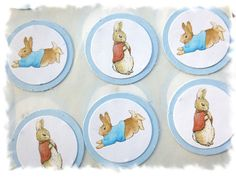 PETER RABBIT Adhesive Envelope Seals Stickers - 1 dozen / Set of 12 - Featuring Peter and Mopsy - A la Carte Peter Rabbit Party Items via Etsy