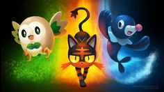 [Wallpaper] Pokemon Sun/Moon Starters by arkeis-pokemon.deviantart.com on @DeviantArt (Rowlet, Litten and Popplio)
