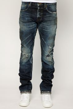 Medium Indigo Pattern Men's Selvedge Slim Denim | PRPS Demon Furud