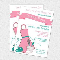 Invitation, Cooking, Baking, Party, Chef, Kitchen Themed, Bridal Shower, Cook Off, Bake Off, Baker, Printable DIY File, Pick Your Colors