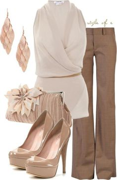 Cream & Tan work outfit