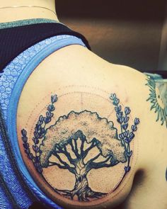 Olive tree & lavender flowers by Delan at The Ink Underground Tattoo, Salem Oregon