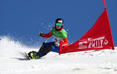 March 16 2017 - 19-year-old Austrian Daniela Ulbing wins the snowboard parallel slalom final at the Sierra Nevada world champs