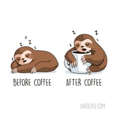 Super Cute Before and After Illustrations - Media Chomp Cute Baby Sloths, Cute Sloth, Funny Animals, Cute Animals, Funny Illustration, Illustration Artists, Animal Illustrations, Work Humor, Cute Characters