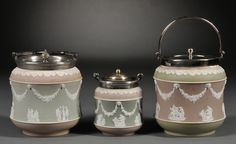 Three Wedgwood Three-color Jasper Dip Jars, England, late 19th century