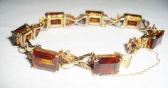 Anita Taub - Deco Bracelet Citrines 14K Bows