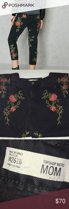 """NWT Topshop Moto Mom Floral Embroidered Cute Jeans These cute denim jeans from the Topshop Moto collection have an inseam of 30"""" and gorgeous Embroidered roses down the front and back, and 5 real pockets. Topshop Jeans Boyfriend"""