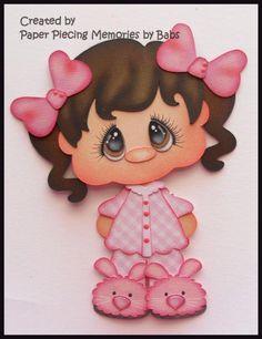 Resultado de imagen para Details about Pajama Boy dark hair Premade Paper Piecing Die Cut for Scrapbook Page by Babs