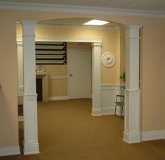 I like the look  of the faux pillars, both shown here. Ideal to separate the common wall between our living room and dining room.