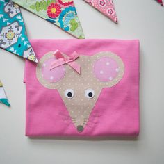 Mouse applique t shirt pink girls by cheekycharlieTs on Etsy, £14.00