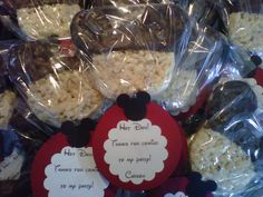 Mickey Mouse Rice Krispie treats with Chocolate Ears - Favor - 10 Pieces with tags. $27.00, via Etsy.