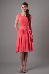 Modest Bridesmaid Dress | LatterDayBride | Coral