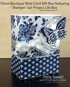 Floral Boutique Note Cards in a repurposed Project Life Box.  Great for gift giving!  Butterfly thinlit accents in Shimmery White and Night of Navy. by Patty Bennett