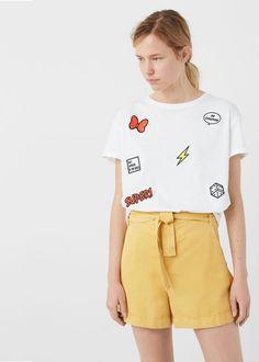 T-shirt aplicações decorativas   MANGO