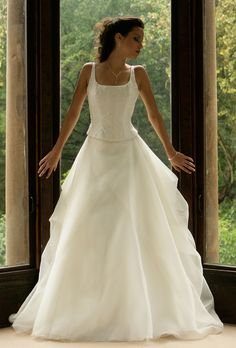 9041 Joyce Young, Organza Bridal, Bridal Sets, Corset, One Shoulder Wedding Dress, Lace Up, Bride, Wedding Dresses, Collection