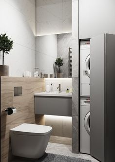 quirky home decor Modern Comfort Bathroom has never been so Awesome! Since the beginning of the year many girls were looking for our Trendy guide and it is finally got released. Now It Is Time To Take Action! Laundry Room Design, Laundry In Bathroom, Bathroom Design Small, Bathroom Interior Design, Modern Bathroom, Modern Interior, Interior Livingroom, Kitchen Modern, Interior Paint