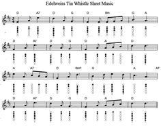 Edelweiss Tin Whistle sheet music notes