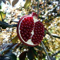 Beaded pomegranate brooch Pomegranate pin  Handmade jewelry, bead embroidery, beadwork