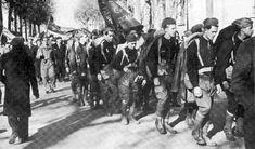 Spain. American volunteers arrive in Barcelona (1937) during Spanish Civil War.