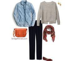 navy pants, chambray shirt, oatmeal sweater, printed scarf, burgundy shoes, orange crossbody bag
